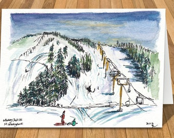 Art Card of Mt Washington, Vancouver Island, BC, Canada Watercolour Print