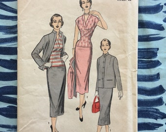 1940's Advance Sewing Pattern 6364 Misses Two Piece Suit with Box Jacket and Pencil Skirt V Neck Blouse Size 16 uncut- 1950s suit pattern