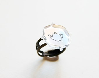 Teapot Ring - Victorian Mirror Silhouette