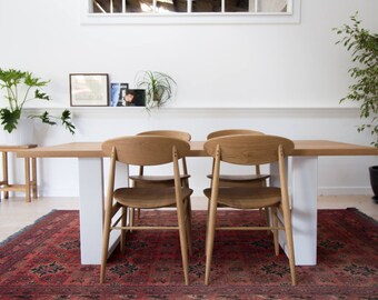 Daphne American Oak Dining Table with Steel Legs - custom made