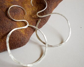 Rustic organic sterling silver hoop earrings Eco silver jewelry Hammered  handmade artisan jewelry unique natural