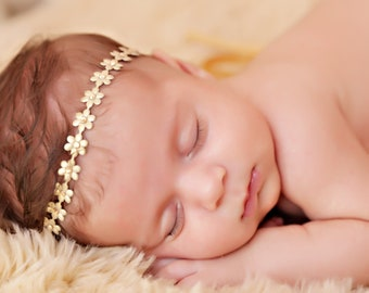 Flower Headband, Baby girls headband, infant photography, Toddlers headband, Flower girls flower wrap, gold flower wrap, toddlers headband