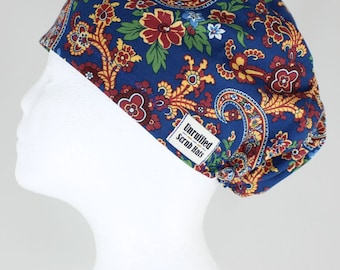 Surgical Scrub U Hat for Women - Floral Paisley