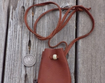 Small brown leather medicine bags , Small brown necklace bag ,  Ready to ship brown neck pouch