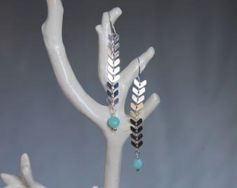 Silver Amazonite drop earrings