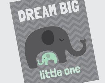 Dream Big - Mint Green and Grey Elephant Nursery Print - Girl Room Decor - Wall Art