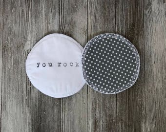 Reusable Nursing Pads You Rock Polka Dots Green Let Down Pad Breastfeeding New Mom Baby Shower Gift