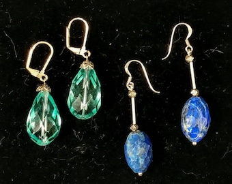 Stunning aquamarine cut crystal drops and Sodalite blue beauties 2for1 deal earrings