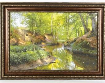 Peder Mork Monsted 1912 Woodland Stream Landscape - Framed Giclee on Canvas