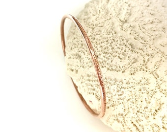 Solid Copper Bangle Bracelet, Chevron Pattern Narrow Stacking Boho Chic Weekend Jewelry, Thin Bohemian Style Metalsmith Made