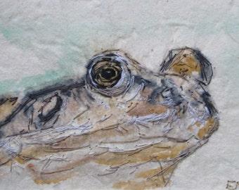 Frog mixed media artwork