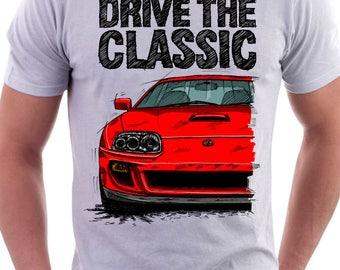 Classic Toyota Supra Mk4 Turbo Europe T  Shirt White. Original Hand Drawn  Design.