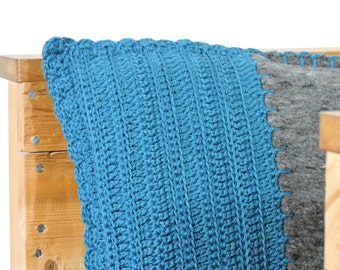 SALE, crocheted pillow, moving blanket with crocheted front in teal