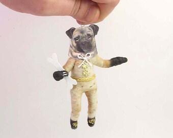 Vintage Inspired Spun Cotton Pug Dog Ornament (MADE TO ORDER)