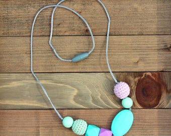 Nursing Necklace, Silicone Beads, Chew Beads, Nursing Jewelry, Teether, Teething Necklace, Breastfeeding, Sensory, Teething Beads, Natural