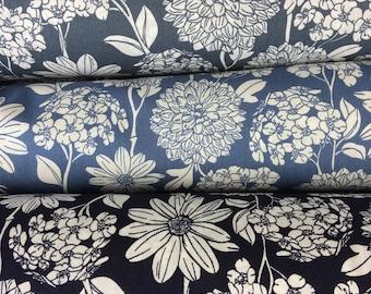Floral Summer dress Material, Blue or grey, Girls dresses, sewing, dressmaking per QUARTER METRE