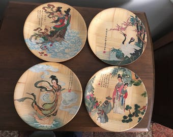 Set of 4 ~ Small Bamboo Dishes ~ Decorated with Historical Portraits and Paintings, Chinese Characters.