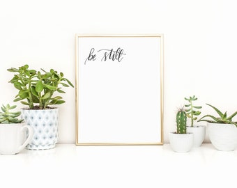 Be Still and Know, Minimalist Art, Be Still Art, Hand Lettered Artwork, Two Prints, Digital Download
