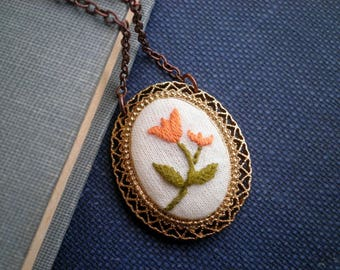 Embroidered Floral Necklace - Peach Tulip Embroidery Necklace - Tulip Textile Art Spring Flower Garden Jewelry Handmade Gifts For Her