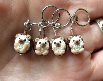 Hedgehog Stitch Markers (prickle of 4 polymer clay miniature sculpted animal knit, crochet accessories)