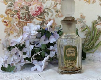 Vintage Perfume Bottle circa 1900 Cashmere Bouquet old label free shipping