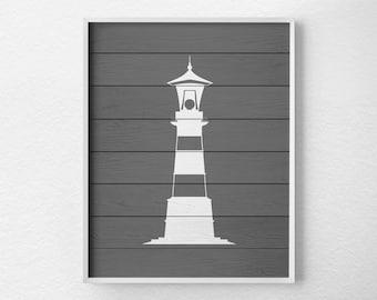 Nautical Lighthouse Art, Lighthouse Decor, Nautical Bathroom, Rustic Nautical Print, Lighthouse Print, Nautical Decor, Beach Art, 0450