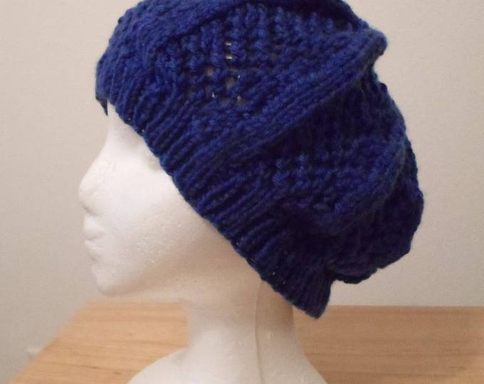 Handknitted Beret  - Made of Acrylic Yarn in Navy Blue/Royal Blue