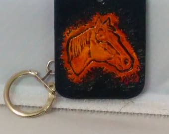 Keychain Brown and yellow horse, handcarved and handpainted