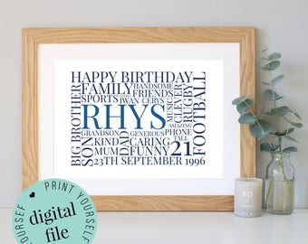 Personalised 21st BIRTHDAY GIFT - Word Art - Printable - 21st Birthday Gift for Her - Gift for Son - Gift for Daughter - Gift for Him