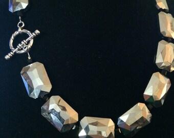 Silver Mirror Beaded Necklace