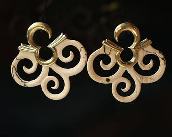Tamarind wood triple spirals  and brass hanging styles  or ear weights Code #001