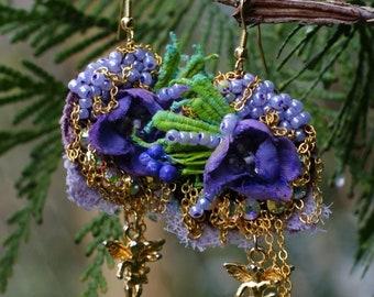 Baroque textile earrings, gipsy earrings, Marie Antoinette earrings, mori girl earrings, shabby chic earrings, mixed media earrings, lace