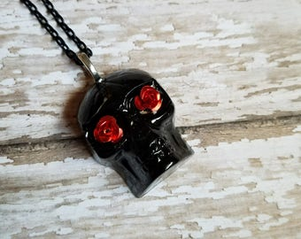 Day of the Dead Inspired Hand Poured Resin Necklace