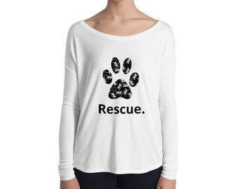 Animal rescue shelter pets cat paw print Ladies' Long Sleeve Tee