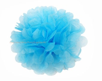 Lake Blue Tissue Paper Pom Pom 1 Small 6 inch Tissue Paper Flowers For Wedding Nursery Shower Party Decoration