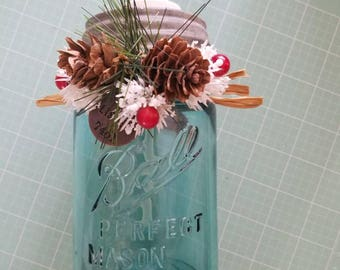 Holiday Blue Mason Jar Soap Dispenser Vintage