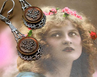 Antique BUTTON earrings, Victorian glass flowers on silver. Vintage button jewellery.