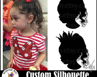 Made-to-Order Profile Silhouette: created from your photo profile - png eps jpg files princess