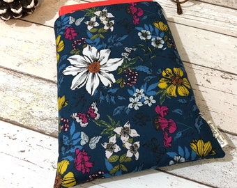 Bright Hardback Book Sleeve, Floral Book Cover, Bookish Gift, Book Lover Accessory, Padded Book Bag, Colourful Flower Book Buddy