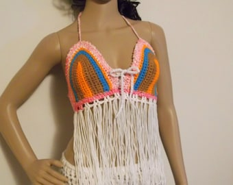 FRINGE FESTIVAL TOP, Hippie crochet top, Fringe halter top, rainbow crochet top, crochet fringe halter top, Fringe, gypsy clothing, Hippie
