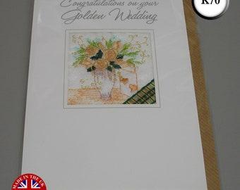 Embroidered Golden Wedding Anniversary Card Handmade 50 years FREE UK POSTAGE
