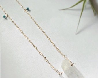 Crystal / Turquoise Long Necklace