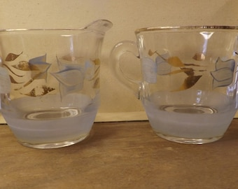 Vintage Sugar and Creamer Set With Hand Painted Tulip Design