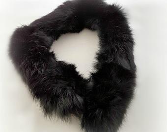Black rabbit fur collar, genuine fur