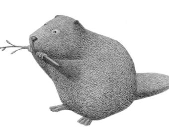 Beaver with a Twig - 4x6 fine art print - Animal art