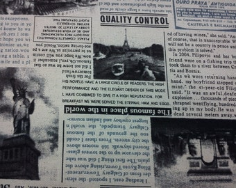 Newspaper, ivory, fat quarter, pure cotton fabric