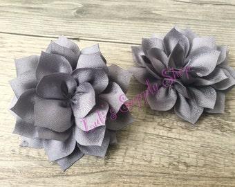 "2 pcs Gray 3"" Dahlia Kanzashi Flowers - Soft Chiffon rhinestones Layered Fabric Flowers - Wholesale Flowers - Hair accessories"