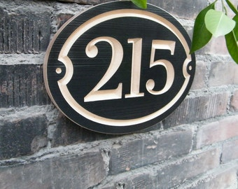 "11""x8"" Oval House Number Engraved Plaque (numbers only) Housewarming Gift, Realtor, Address Sign, House Number Plaque, carved wood sign"
