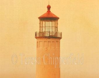 Coastal Architecture Photography, Lighthouse Print, Rolling Fog, Red Roof Lighthouse, Warm Soft Orange Dusk, Nautical Wall Decor, 8x10,24x30