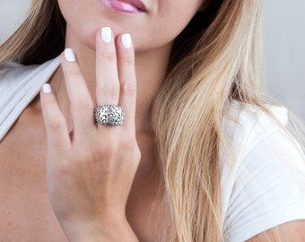 Silver Filigree Ring, Silver Boho Ring, Silver Ring, Statement Ring, Bold Ring, Chunky Ring, Wide Ring, Victorian Ring, Silver Lace Ring